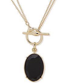 """Lauren Ralph Lauren Faceted Oval 18"""" Convertible Pendant Necklace"""