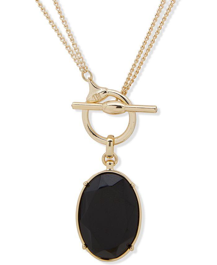 """Lauren Ralph Lauren - Faceted Oval 18"""" Convertible Pendant Necklace"""
