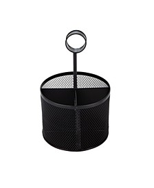4 Section Round Steel Mesh Utensil Holder with Handle