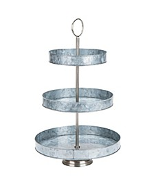 Galvanized Steel Round Cupcake Tower, Dessert Stand with Handle, Rustic Design Appetizer Serving Tray Tower, Tiered Cupcake Stand