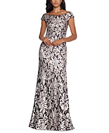 Patterned-Sequin Gown