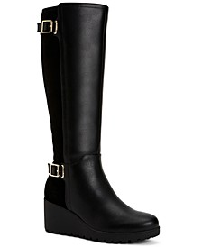 Women's Memory Foam Wide-Calf Sannaa Boots, Created for Macys