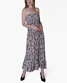 Juniors' Printed Strapless Maxi Dress