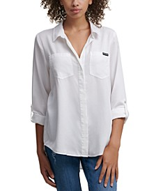Split Back Button Down Top