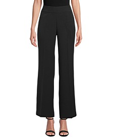Wide-Leg Crepe Side-Zip Pants