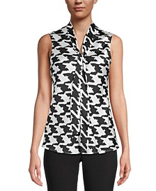 Printed Sleeveless Bow-Neck Blouse