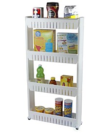 Vintiquewise Slim Storage Cabinet Organizer 4 Shelf Rolling Pull Out Cart Rack Tower with Wheels