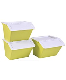 Vintiquewise Large Plastic Stackable Storage Bins, Set of 3