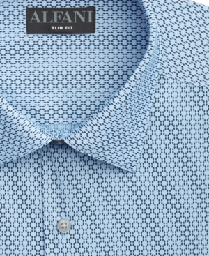 Alfani Men's Slim-Fit Mini-Diamond Grid-Print Dress Shirt, Created for Macy's