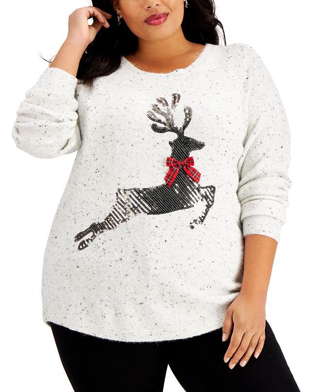 Karen Scott Plus Size Sequin Reindeer Sweater, Created for Macy's