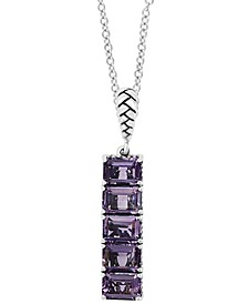 "EFFY® Amethyst Vertical Bar 18"" Pendant Necklace (5-3/4 ct. t.w.) in Sterling Silver"