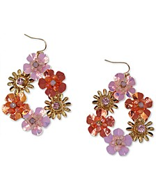 INC Gold-Tone Crystal & Bead Multicolor Flower Drop Earrings, Created for Macy's