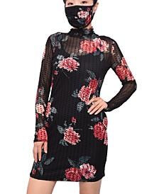 Juniors' Floral-Print Dot-Mesh Dress