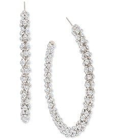 "Silver-Tone Large Crystal Textured Open Hoop Earrings, 2.6"", Created for Macy's"