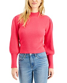 Ribbed Puff-Sleeve Sweater, Created for Macy's