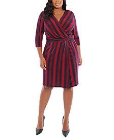 London Times Plus Size Striped Side-Twist Dress