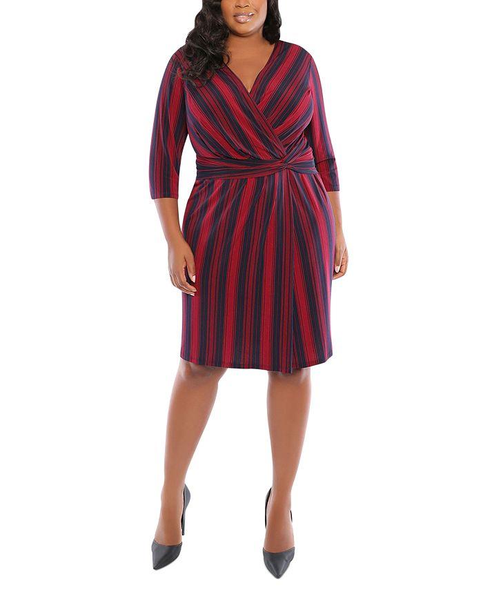London Times - Plus Size Striped Side-Twist Dress