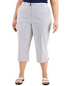 Plus Size Chambray Corded-Stripe Capri Pants, Created for Macy's