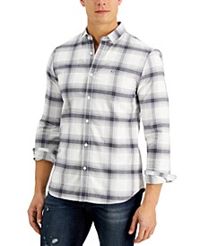 Men's Long-Sleeve Checkered Button-Up Shirt