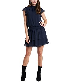 Ruffled Mock-Neck Dress
