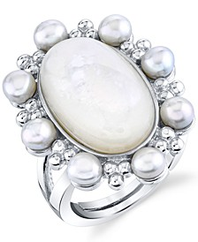 Mother-Of-Pearl & Freshwater Pearl (8-1/2mm) Statement Ring in Sterling Silver