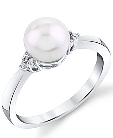 Cultured Freshwater Pearl (7mm) & Diamond (1/20 ct. t.w.) Ring in 14k White Gold