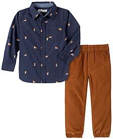 Baby Boys Allover Print Woven Shirt Cord Jogger Pant Set