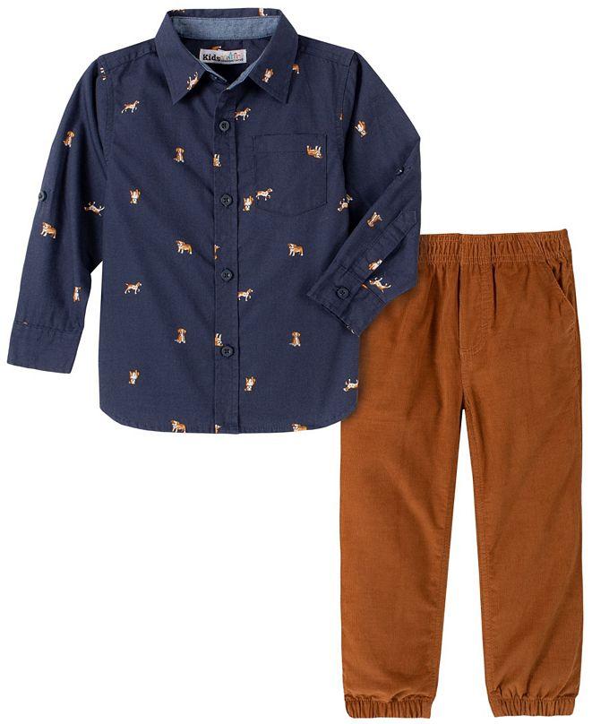 Kids Headquarters Baby Boys Allover Print Woven Shirt Cord Jogger Pant Set