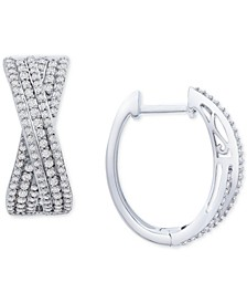 Diamond Crossover Oval Hoop Earrings (1 ct. t.w.) in Sterling Silver, Created for Macy's