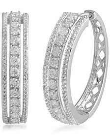 Diamond Hoop Earrings (1 ct. t.w.) in 14k White Gold