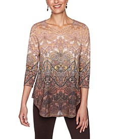 Plus Size Ombre Baroque Paisley Print Top