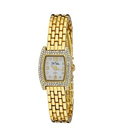 Women's Gold-Tone Alloy Bracelet Panther Link Square Stone Bezel Watch, 23mm
