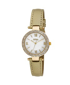 Women's Gold-Tone Polyurethane Strap Glitz Mop Dial Watch, 30mm