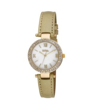 Women's Gold-Tone Polyurethane Strap Glitz Mop Dial Watch