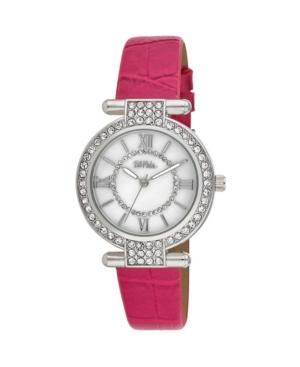 Women's Pink Polyurethane Strap Stone Encrusted T-Bar Watch