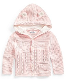 Ralph Lauren Baby Neutral Bear-Ear Hooded Cardigan