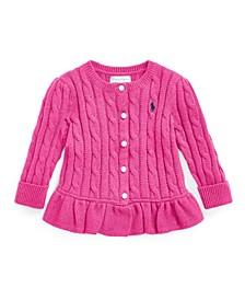 Ralph Lauren Baby Girls Peplum Cable Cotton Cardigan