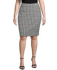 Plus Size Houndstooth Jacquard Slim Skirt