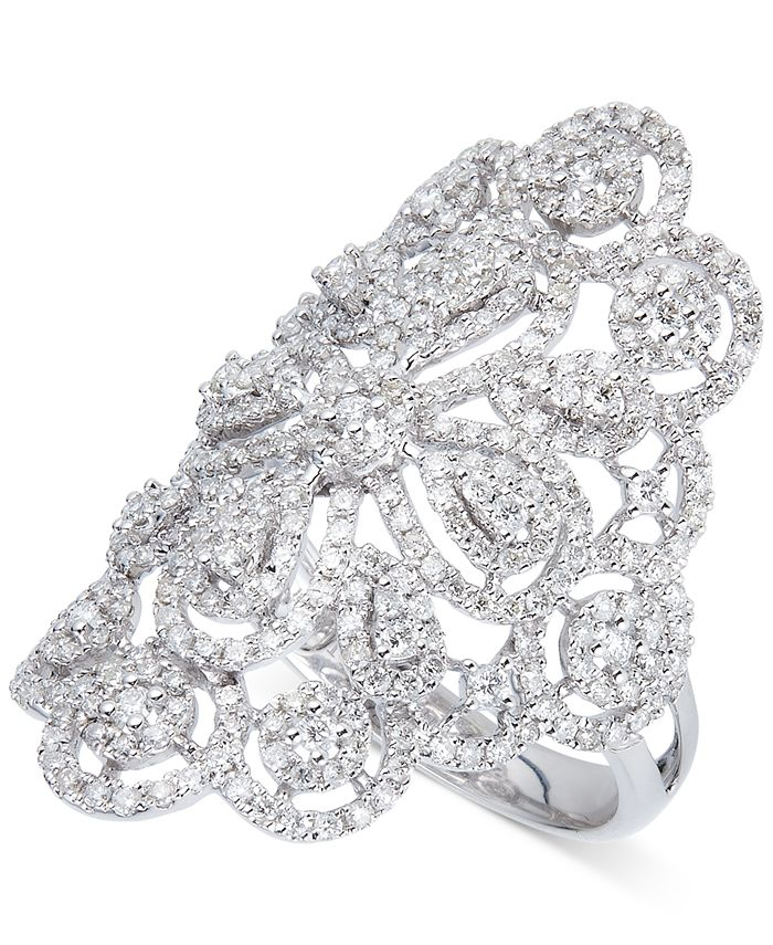 Macy's - Diamond Filigree Statement Ring (1-3/5 ct. t.w.) in 14k White Gold