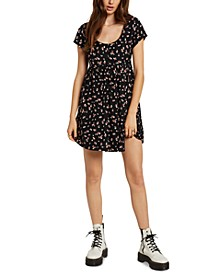 Juniors' Printed Babydoll Dress