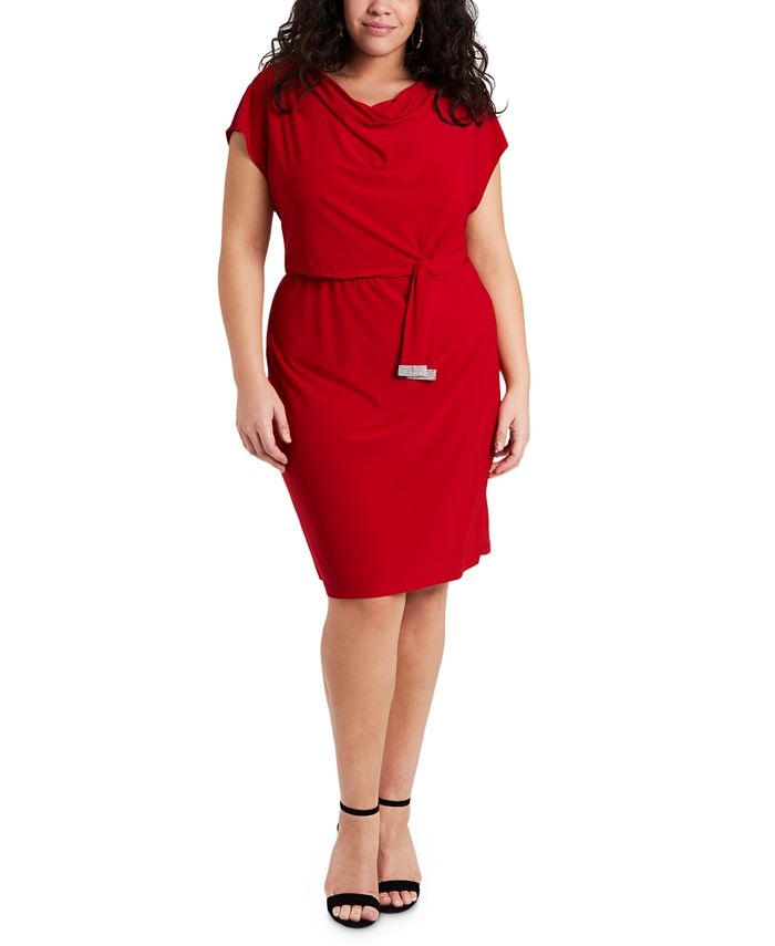 MSK - Plus Size Cowlneck Sheath Dress