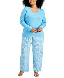 Plus Size Lace-Trim Pajama Set, Created for Macy's