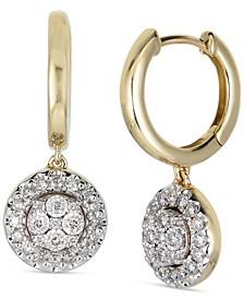 Diamond Cluster Dangle Hoop Drop Earrings (1/2 ct. t.w.) in 14k Gold