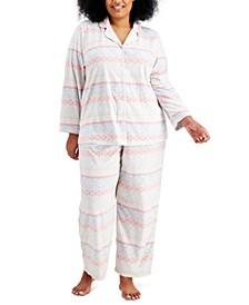 Plus Size Cozy Fleece Pajama Set, Created for Macy's