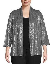 Plus Size Sequin Jacket