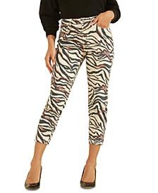 90s Zebra-Print Ankle Skinny Jeans