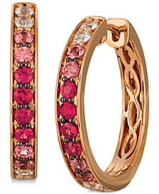 """Pink Ruby (3/4 ct. t.w.) & White Sapphire (3/8 ct. t.w.) Ombré Small Hoop Earrings in 14k Rose Gold, 0.79"""""""
