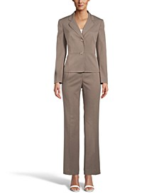 Long-Sleeve Pinstripe Blazer Pant Suit