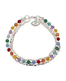 Fine Silver Plated Triple Strand Multi-Color Evil Eye Bracelet