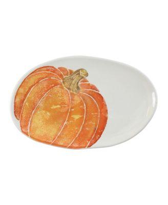 Pumpkins Small Oval Platter w/ Pumpkin